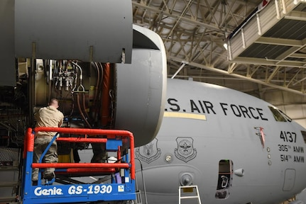 Staff Sgt. Lewis Cole, 514th Maintenance Squadron propulsion flight air reserve technician, performs routine work on a C-17 Globemaster III at Joint Base McGuire-Dix-Lakehurst, March 23, 2017. Every 120 days a different aircraft enters the 305th Maintenance Squadron's shop for a piece-by-piece inspection.