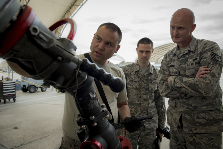 Staff Sgt. Joseph Flanders, 75th Aircraft Maintenance Unit crew chief, refuels an A-10C Thunderbolt II while being monitored by Quality Assurance and a wing inspection team, March 23, 2017, at Moody Air Force Base, Ga. Two WITs visited Moody in order to assess the 23d Maintenance Group's QA section. During their visit, the WIT inspected nearly 30 different QA programs, with an added focus on corrosion control. (U.S. Air Force photo by Airman 1st Class Lauren M. Sprunk)