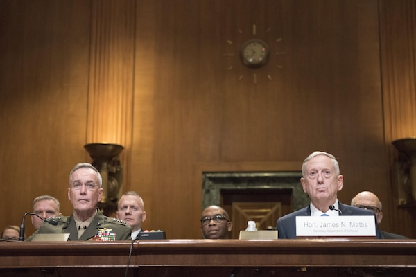 Defense Secretary James N. Mattis and Marine Corps Gen. Joseph F. Dunford Jr., chairman of the Joint Chiefs of Staff, speaks before the U.S. Senate Committee on Appropriations Department of Defense fiscal year 2017 budget hearing, on Capitol Hill, March 22, 2017.