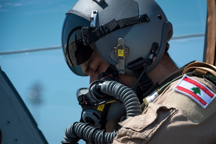 "A Lebanese A-29 Super Tucano student pilot from the 81st Fighter Squadron, conducts the first ""in-seat"" training sortie, March 22, 2017, at Moody Air Force Base, Ga. The program began in March 2017 and is designed to ensure the Lebanon air force receives the support and training needed to safely and effectively employ the A-29 Aircraft. (U.S. Air Force photo by Tech. Sgt. Zachary Wolf)"