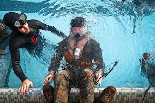 Marine Corps 2nd Lt. Brandon J. Klewicki uses an emergency breathing system during helicopter underwater egress training at the base pool at Marine Corps Base Hawaii, March 23, 2017. Marine Corps photo by Cpl. Aaron S. Patterson