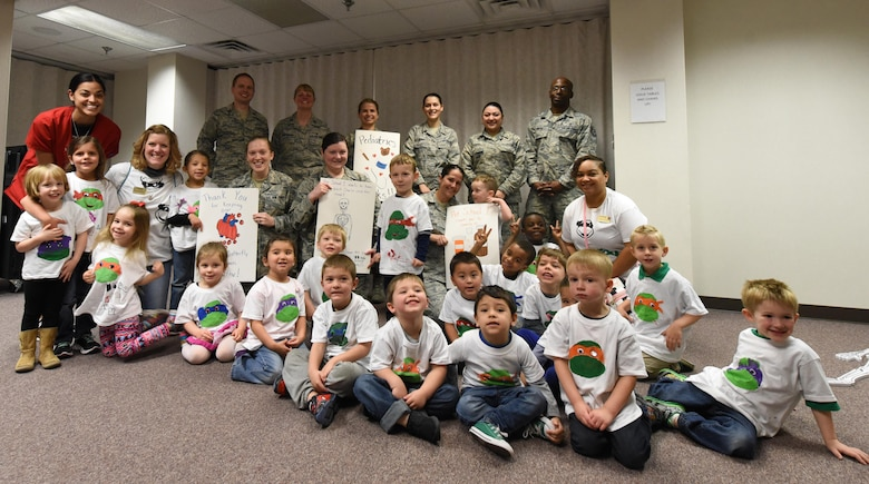 Members from the 4th Medical Group visited with 4th Force Support Squadron Child Development Center preschool children, March 21, 2017, at Seymour Johnson Air Force Base, North Carolina. The children explored the pediatric clinic, met the doctors and learned about practicing healthy habits.(U.S. Air Force photo by Airman 1st Class Victoria Boyton)
