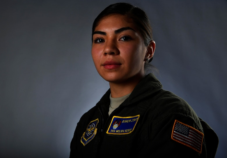 Senior Airman Melida Keres's, 628th Security Forces Squadron phoenix raven, poses for a photo here, March 13, 2017. With five out of 32 phoenix ravens being females, Joint Base Charleston is home to more than half of the female ravens in Air Mobility Command.