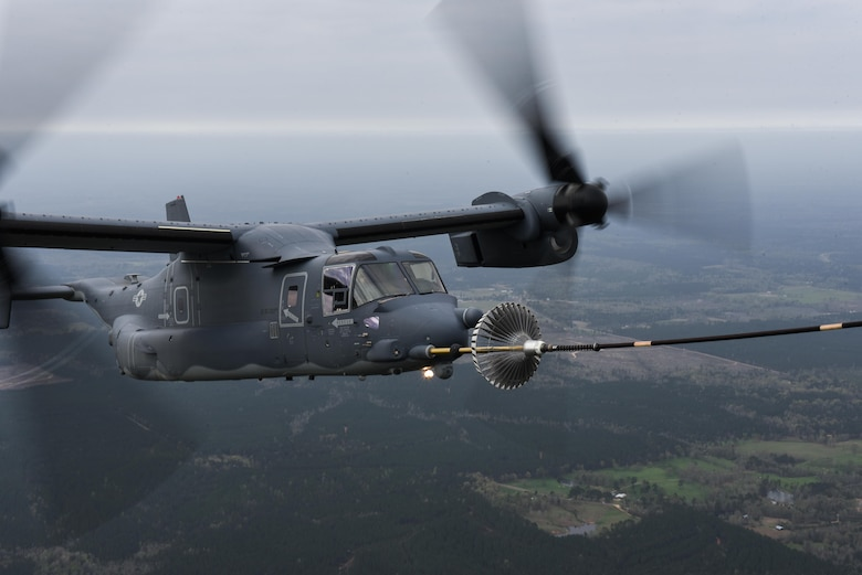 "Maj. Gen. Eugene Haase, vice commander of Air Force Special Operations Command, flies a CV-22 Osprey tilt-rotor aircraft during his ""Fini"" flight  over Eglin Range, Fla., March 24, 2017. During his 34 years of service, Haase has flown more than 3,500 flying hours in the UH-1N twin huey helicopter, HH-60G and MH-60G Pave Hawk helicopter, MH-53 Pave Low helicopter, HC-130 Combat King, MC-130P Combat Shadow, MC-130H Combat Talon II, C-130E and CV-22. (U.S. Air Force photo by Senior Airman Jeff Parkinson)"