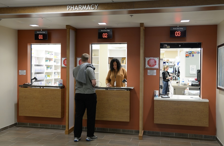Second Lt. Nathan Bruhn, 14th Student Squadron, picks up a prescription March 17, 2017, at Columbus Air Force Base, Mississippi. The pharmacy is located in the 14th Medical Group Koritz Clinic. (U.S. Air Force photo by Airman 1st Class Beaux Hebert)