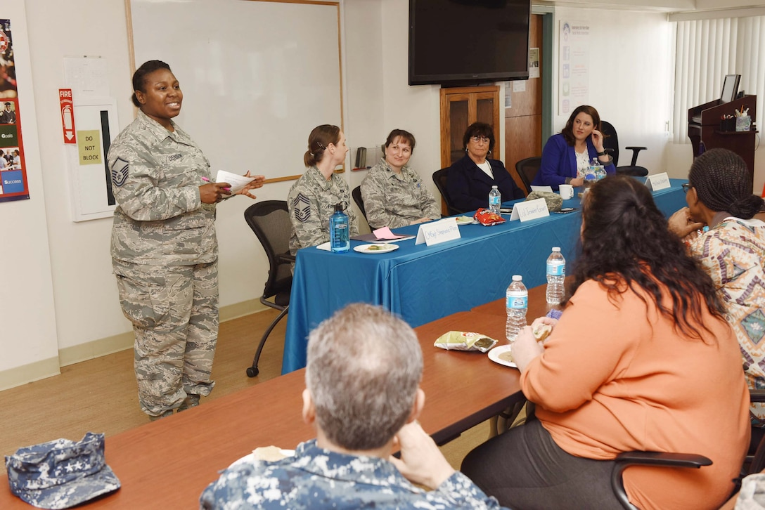 Master Sgt. Lashandra Denson, 30th Civil Engineer Squadron engineering flight superintendent, speaks during the Women's History Month lunch and learn at the Airman and Family Readiness Center, March 23, 2016, Vandenberg Air Force Base, Calif. The event provided mentorship to women on how to navigate the Air Force in male-dominant career fields, life as a public official and the civilian workforce. (U.S. Air Force photo by Tech. Sgt. Jim Araos/Released)