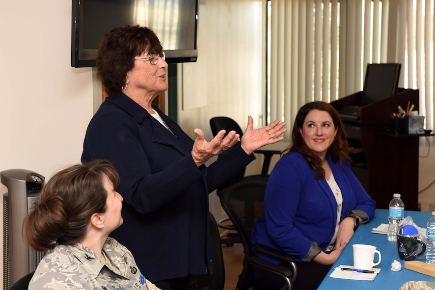 Joyce Howerton, first female mayor of Lompoc, speaks during the Women's History Month lunch and learn at the Airman and Family Readiness Center, March 23, 2016, Vandenberg Air Force Base, Calif. The event provided mentorship to women on how to navigate the Air Force in male-dominant career fields, life as a public official and the civilian workforce. (U.S. Air Force photo by Tech. Sgt. Jim Araos/Released)