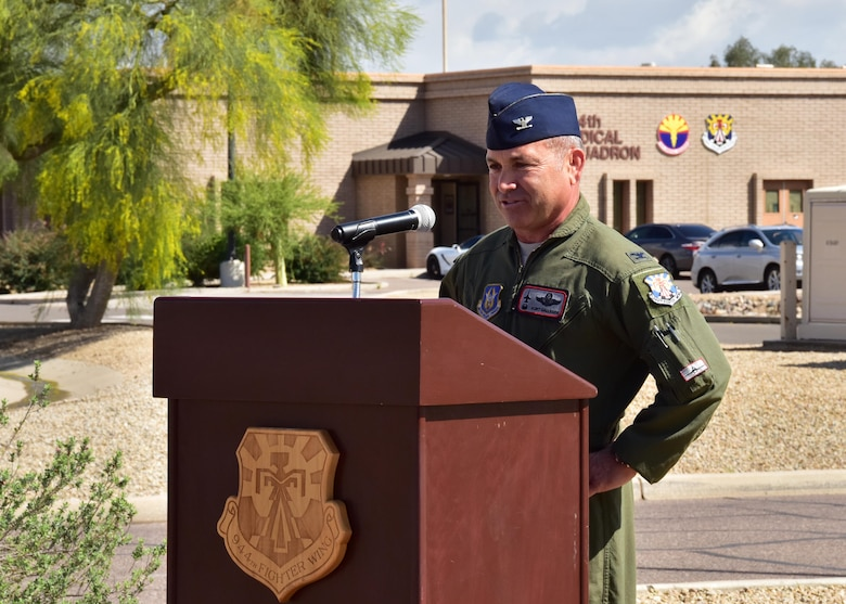 Col. Kurt Gallegos, 944th Fighter Wing commander, gives a speech Mar. 23 during the fourth annual Commemoration Day for the Tuskegee Airmen in Arizona at Luke Air Force Base, Ariz. (U.S. Air Force photo by Tech. Sgt. Louis Vega Jr.)