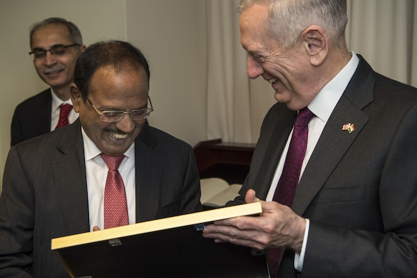 Defense Secretary Jim Mattis shares a light moment with Indian National Security Advisor Ajit Doval while meeting with him at the Pentagon, March 24, 2017. DoD photo by Army Sgt. Amber I. Smith