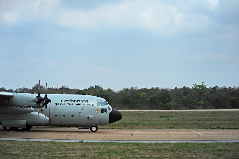 A Royal Thai air force C-130H aircraft taxis down the runway during exercise Cope Tiger 17 at Korat Royal Thai Air Force Base, Thailand, March 24, 2017. The annual multilateral exercise, which involves a combined total of 76 aircraft and 43 air defense assets, is aimed at improving combined combat readiness and interoperability between the Republic of Singapore air force, Royal Thai air force, and U.S. Air Force, while concurrently enhancing the three nations' military relations. (U.S. Air Force photo by Staff Sgt. Kamaile Chan)