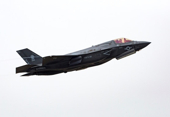 A U.S. Marine Corps F-35B Lightning II with Marine Fighter Attack Squadron (VMFA) 121, takes off from Marine Corps Air Station Iwakuni, Japan, March 23, 2017. VMFA-121 aims to fill close air support missions in support of 5th Anglico for the Korea Marine Exercise Program (KMEP) 17-5 in the Republic of Korea (ROK) later this month.  The Marine Corps will continue to support the ROK-U.S. alliance with the most advanced aircraft platforms in their inventory.