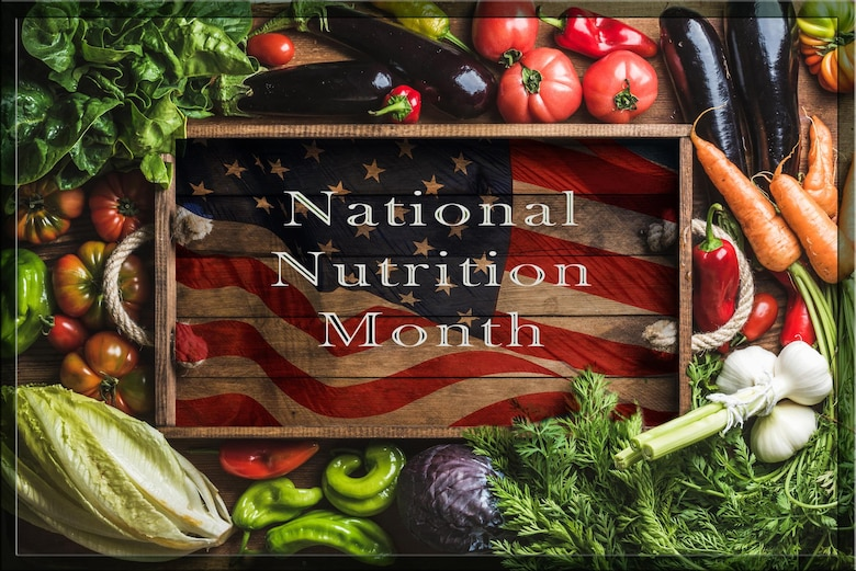 "March is National Nutrition Month and this year's theme is ""Put Your Best Fork Forward,"" which encourages a return to the basics of healthy eating. (U.S. Air Force graphic by Lino Espinoza)"