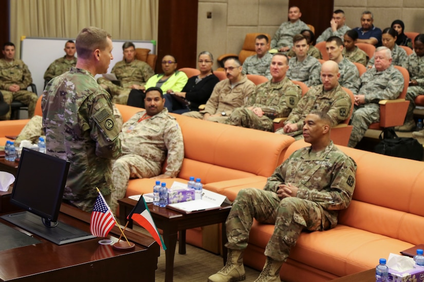U.S. Army Lt. Col. Ron Wells, the commanding surgeon for Area Support Group- Kuwait, welcomes U.S. Service members, Coalition members and host nation partners met for a Medical Evacuation meeting hosted, for the first time, at the Kuwait Armed Forces Hospital, March 5. This meeting is a quarterly meeting that dates back as far as December 2015, and discusses best practices as well as advising each other on potential challenges.