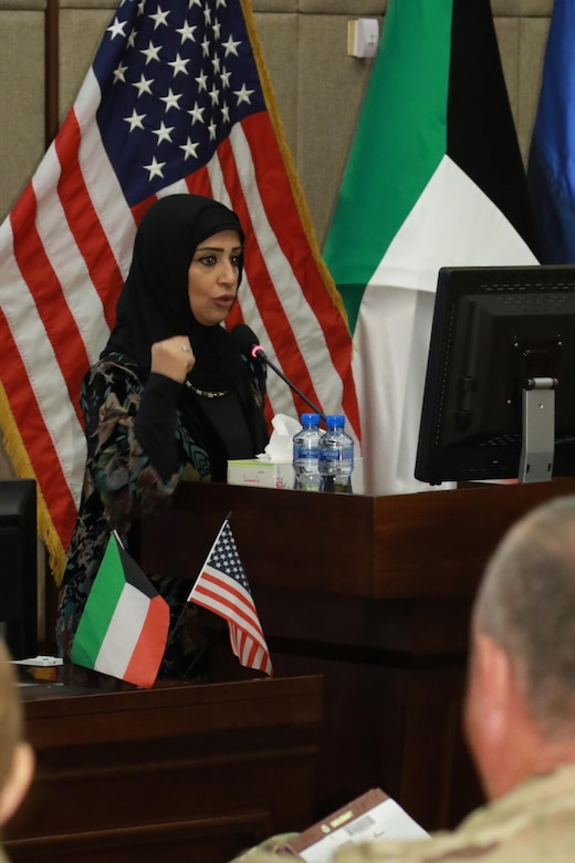 Huda Sadeq, the chair of the Emergency Department of the Farwaniya Hospital, speaks during a Medical Evacuation meeting hosted, for the first time, at the Kuwait Armed Forces Hospital, March 5. Sadeq focused on updating participants in the meeting about changes in their hospital's procedures regarding different emergency events.