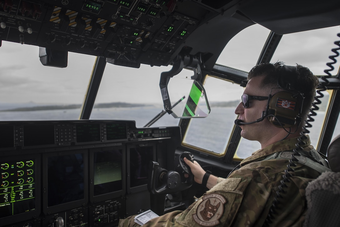 U.S. Air Force Capt. David Benes, 17th Special Operations Squadron MC-130J Commando II pilot, conducts low altitude flying during a training sortie March 21, 2017, off the coast of Okinawa, Japan. Benes and other pilots of the 17th SOS train to maintain flying skills for combat maneuvers and clandestine missions in support of the Air Force Special Operations Command, the 18th Wing, and joint and coalition partners throughout the Indo-Asia Pacific Theater. (U.S. Air Force photo by Airman 1st Class Corey Pettis)
