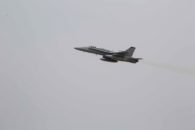 An F/A-18C Hornet with Marine Fighter Attack Squadron (VMFA) 232 takes off from Marine Corps Air Station (MCAS) Iwakuni, Japan, March 22, 2017. The squadron left MCAS Miramar, Calif., March 11, 2017, and arrived at MCAS Iwakuni March 15. The squadron is part of the Unit Deployment Program and helps provide air support to III Marine Expeditionary Force through training and combat operations. (U.S. Marine Corps photo by Lance Cpl. Gabriela Garcia-Herrera)