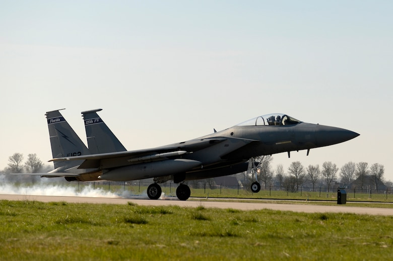An F-15C Eagle crew chief performs maintenance at Leeuwarden Air Base, Netherlands, March 24, 2017. F-15C's from the Lousiana and Florida Air National Guard's 159th Expeditionary Fighter Squadron deployed to Europe to participate in a Theater Security Package. These F-15s will conduct training alongside NATO allies to strengthen interoperability and to demonstrate U.S. commitment to the security and stability of Europe. (U.S. Air Force photo by Tech. Sgt. Staci Miller)