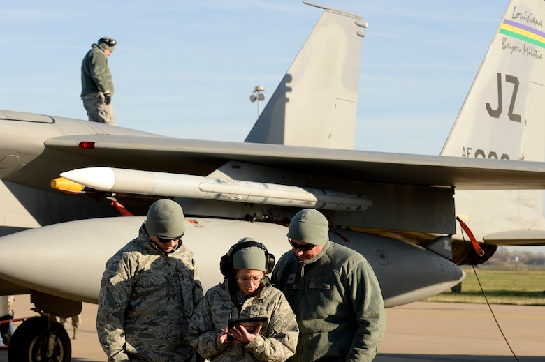 Airmen from the 122nd Expeditionary Fighter Squadron perform maintenance at Leeuwarden Air Base, Netherlands, March 24, 2017. F-15C's from the Lousiana and Florida Air National Guard's 159th EFS deployed to Europe to participate in a Theater Security Package. These F-15s will conduct training alongside NATO allies to strengthen interoperability and to demonstrate U.S. commitment to the security and stability of Europe. (U.S. Air Force photo by Tech. Sgt. Staci Miller)