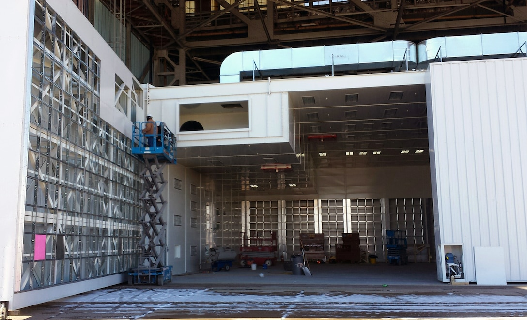 A next generation F-35 coatings application booth at Hill Air Force Base is set to become initially operational by October 2017. The state-of-the-art coatings booth project, led by the Air Force Research Laboratory's Advanced Power Technology Office, is expected to save more than $330,000 annually in energy through the employment of advanced sensors, control logic and sophisticated software analysis tools to monitor and improve performance over the lifetime of the complex. (U.S. Air Force Courtesy Photo)