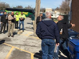 Roger Lindsey (tan jacket), Metro Nashville Water Services, takes notes during the 2017 Interagency Flood Risk Management Workshop in St. Louis, Mo., March 3, 2017.