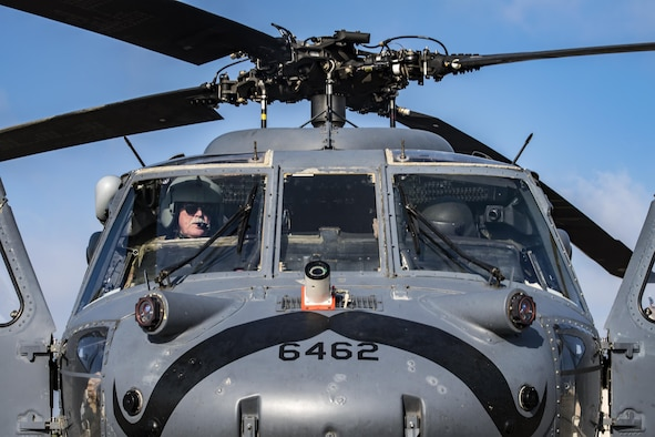 Retired U.S. Army Chief Warrant Officer 3, James Turnage Sr., 41st Helicopter Maintenance Unit contractor maintenance pilot, left, performs a preflight systems check, March 22, 2017, at Moody Air Force Base, Ga. The 41st HMU is responsible for Moody's Pave Hawk fleet. Through innovation and preventative maintenance, they ensure each of their 13 Pave Hawks receive the upkeep needed to accomplish the mission. (U.S. Air Force photo by Airman 1st Class Janiqua P. Robinson)