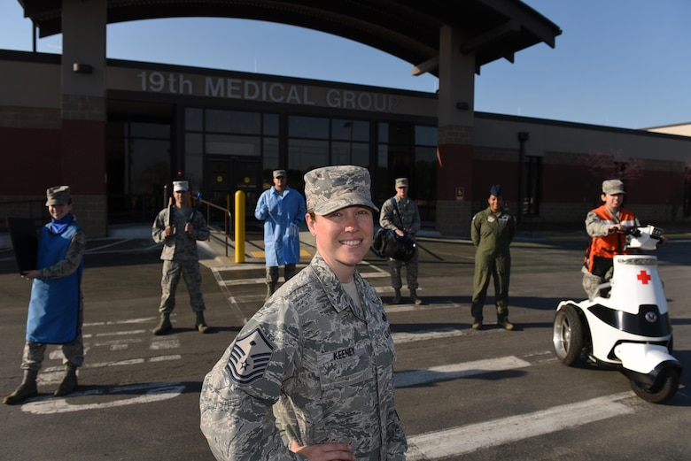 U.S. Air Force Master Sgt. Esther Keeney, 19th Medical Group first sergeant, enlisted at 18 years old and has served 17 years in the U.S. Air Force. One of her goals was to achieve the first sergeant position and supports her Airmen by listening to them and finding out what motivates them. (U.S. Air Force photo by Airman 1st Class Kevin Sommer Giron)