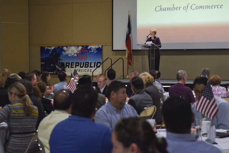 Dr. Carol Bonds, Texas Military Preparedness Commission member, delivers a speech at the annual Chamber of Commerce luncheon at the McNease Convention Center in San Angelo, Texas, March 21, 2017. Bonds introduced U.S. Air Force Col. Michael Downs, 17th Training Wing Commander's and highlighted his accomplishments and how influential he has been in the local community. (U.S. Air Force photo by Airman 1st Class Chase Sousa/Released)