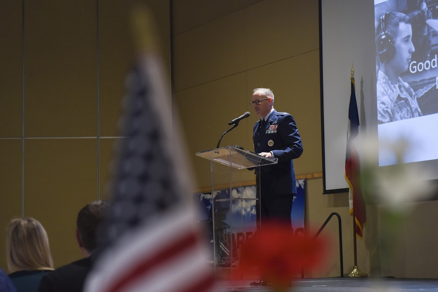 U.S. Air Force Col. Michael Downs, 17th Training Wing Commander, speaks at the annual Chamber of Commerce luncheon at the McNease Convention Center in San Angelo, Texas, March 21, 2017. Downs recognized outstanding Airmen from Goodfellow for their contributions to the Air Force and the San Angelo community. (U.S. Air Force photo by Airman 1st Class Chase Sousa/Released)