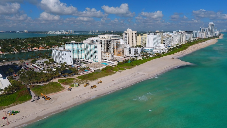 During:  Construction progress on the 54th Street section of the Miami Beach hotspots beach project in February clearly shows the increased width of the newly renourished beach.
