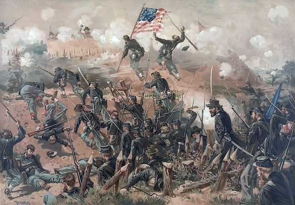 """""""Siege of Vicksburg"""" by illustrator Thure de Thulstrup (1848 –1930) depicts the initial assault on Vicksburg's fortifications May 19, 1863."""