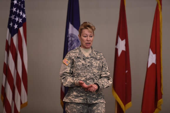 Day one of our month-long celebration of Women's History Month features Brig. Gen. Tammy Maas, Wyoming Army National Guard commander, thanking members of Medical Detachment during a recent change of command ceremony. She was named assistant adjutant general in May of last year. She began her military career in 1979 and after completing 10 years of service and reaching the rank of staff sergeant, she attended the state Officer Candidate School program in 1989 and was commissioned as a second lieutenant. We will feature Wyoming Military Department women everyday this month on our social media platforms. (Wyoming Army National Guard photo by Sgt. 1st Class Jimmy McGuire)
