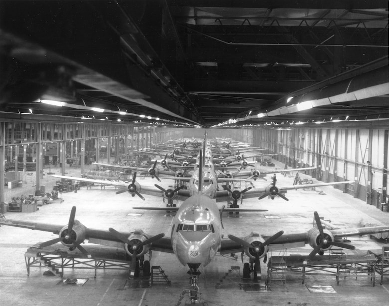 C-54 line in Bldg. 3001 at Tinker in the mid-1940s. (Photo courtesy of Tinker History Office)