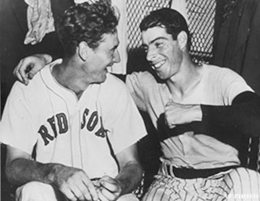 Major League baseball players Ted Williams, who fought as a Marine combat pilot in World War II and Korea, and Joe DiMaggio, who served as a supply sergeant in the 7th Army Air Force team. (Courtesy photo)