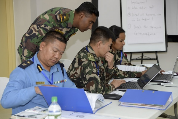 More than 100 senior officials from 28 countries are attending Staff Training Events to address the challenges of modern United Nations peacekeeping operations during exercise Shanti Prayas III in Nepal, Mar. 26, 2017. Shanti Prayas is a multinational U.N. peacekeeping exercise designed to provide pre-deployment training to U.N. partner countries in preparation for real-world peacekeeping operations.