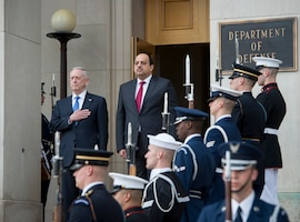 Defense Secretary Jim Mattis and Qatari Defense Minister Khalid bin Mohammed al-Attiyah prepare to enter the Pentagon to discuss the defense relationship between the United States and Qatar, March 27, 2017. DoD photo by Air Force Tech. Sgt. Brigitte N. Brantley
