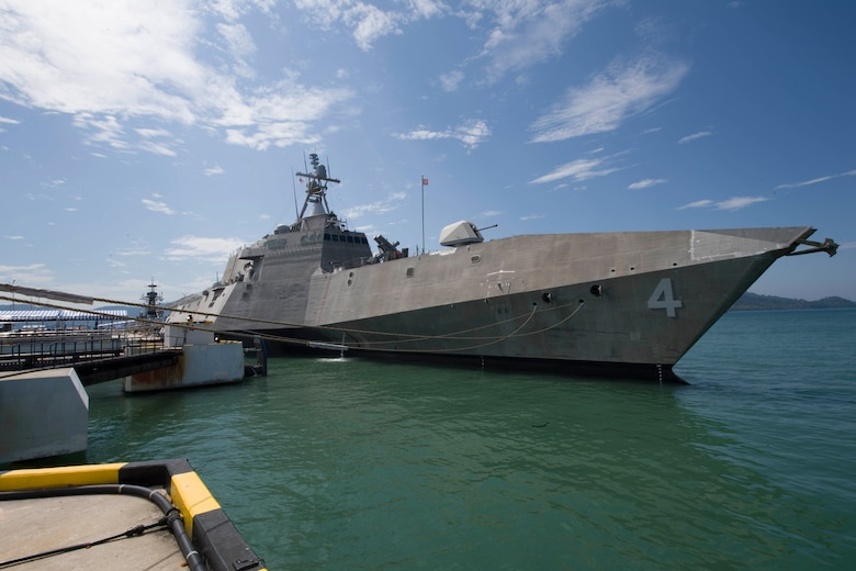 The littoral combat ship USS Coronado (LCS 4) moors pierside in Langkawi, Malaysia during the Langkawi International Maritime and Aerospace Exhibition 2017. The ship is on a rotational deployment in U.S. 7th Fleet area of responsibility, Mar. 25, 2017. Coronado is a fast and agile warship tailor-made to patrol the region's littorals and work hull-to-hull with partner navies, providing 7th Fleet with the flexible capabilities it needs now and in the future.