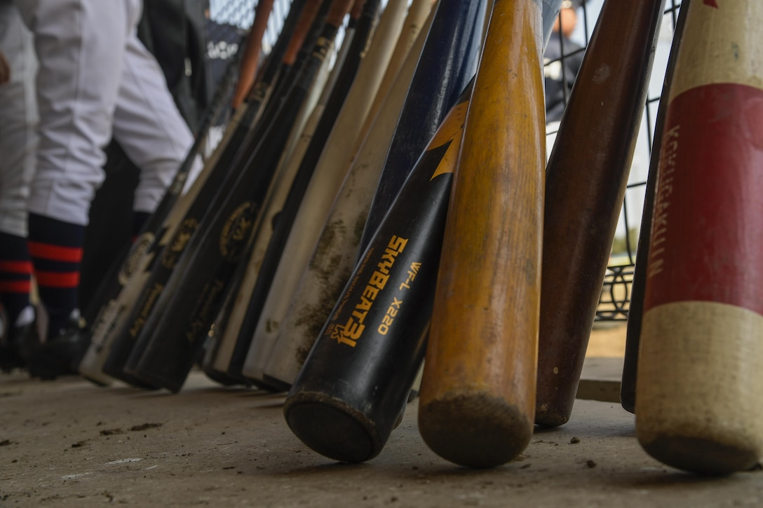 Bats sit in the Chofu Little Seniors dugout during the Inaugural Japan-US Friendship Youth Baseball Game at Yokota Air Base, Japan, March 25, 2017. The event marks the beginning of the spring baseball season on base and strengthened ties between the Yokota and Japanese youth through baseball. (U.S. Air Force photo by Staff Sgt. David Owsianka)