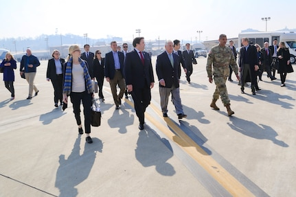Gen. Vincent K. Brooks, United Nations Commander, Combined Forces Commander, and United States Forces Korea commander, welcomes U.S. Secretary of State Rex Tillerson at Osan Air Base, in Pyeongtaek, South Korea, Mar. 17, 2017. Secretary Tillerson made a stop in Korea during his first visit to Asia as Secretary of State.