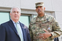 Gen. Vincent K. Brooks, United Nations Commander, Combined Forces Commander, and United States Forces Korea commander, and U.S. Secretary of State Rex Tillerson speak at an observation point located within the Joint Security Area (JSA) inside the Korean Demilitarized Zone, Mar. 17, 2017. Secretary Tillerson made a stop in Korea during his first visit to Asia as Secretary of State.