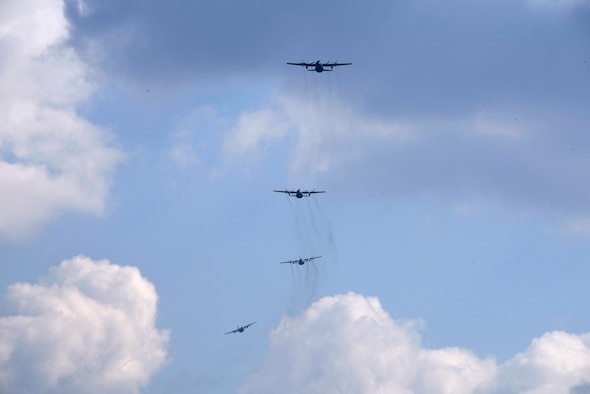 U.S. and Polish C-130 Hercules aircraft fly a 4-ship formation at Powidz Air Base, Poland, March 24, 2017.  Airmen from both countries participated in bilateral training during Aviation Detachment 17-2 in support of Operation Atlantic Resolve.  These bilateral trainings focused on maintaining joint readiness while building interoperability.  (Air National Guard photo by Staff Sgt. Alonzo Chapman/Released).