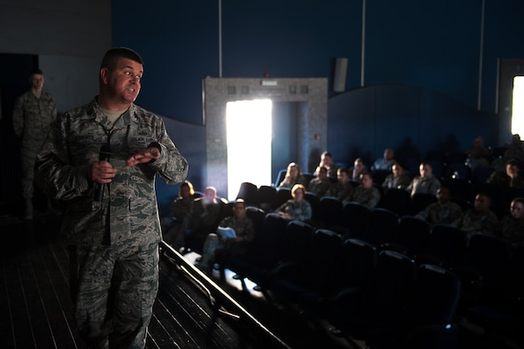 U.S. Air Force Col. Michael Roberts, 86th Medical Group Deputy Commander, speaks to Airmen during a kick-off event for the Air Force Assistance Fund at the Hercules Theater on Ramstein Air Base, March 27, 2017. Roberts told his story about how the AFAF assisted him when he was a young Airman. (U.S. Air Force photo by Senior Airman Devin Boyer/Released)