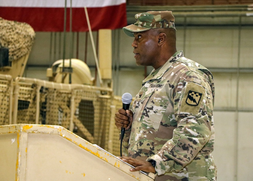 BAGRAM AIRFIELD, Afghanistan (Mar. 26, 2017) - U.S. Army Col. James E. Walker, Task Force Lightning/525th Expeditionary Military Intelligence Brigade commander, thanks the service members and guests who attended today's transfer of authority ceremony. Walker reported the Soldiers of 525th E-MIB were trained and ready for the mission ahead.  TF Lightning assumed the Afghanistan-theater Intelligence, Surveillance, and Reconnaissance mission from TF ODIN.  Photo by Jet Fabara, U.S. Forces Afghanistan Public Affairs.