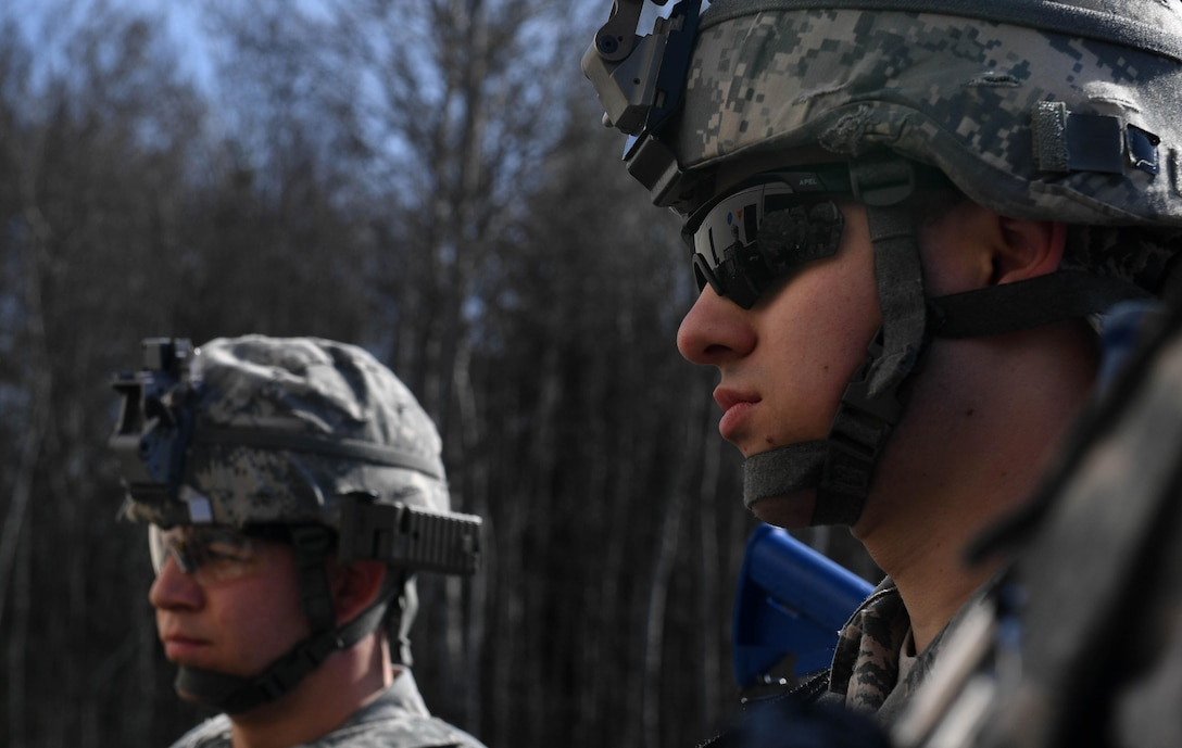 Senior Airman Nico Colombo, 569th U.S. Forces Police Squadron patrolman, listens to instructions on how to use a defense advanced GPS receiver during the DAGR training portion of the 435th Security Forces Squadron's Ground Combat Readiness Training Center's Security Operations Course on Ramstein Air Base, Germany, March 25, 2017. During the training, students learned how to use all the functions of the receiver and followed it to a specific location. Airmen assigned to the 86th SFS, 422nd SFS, 100th SFS, and 569th USFPS participated in the course. (U.S. Air Force photo by Senior Airman Tryphena Mayhugh)