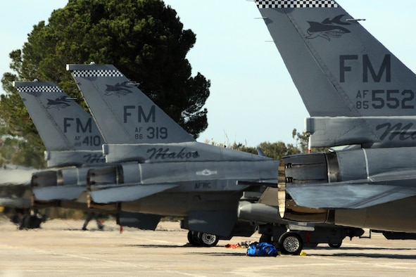 U.S. Air Force F-16Cs are parked on the flightline at Andravida Air Base Greece, Mar. 23, 2017 before the start of INIOHOS 17.  The U.S. and Greece, as NATO allies, are participating in the exercise to promote peace and stability, and to seek opportunities to continue developing a relationship. (U.S. Air Force photo by Staff Sgt. Ciara Gosier)