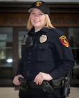 U.S. Air Force Staff Sgt. Rebekah Miller stands in front of the Torrington police department in her police uniform, Mar. 10, 2017 in Torrington, Wyoming. Miller has been with the Wyoming Air National Guard for six years and is serving as a command post specialist. She has also been an officer with the Torrington police department for two years. (U.S. Air National Guard photo by Senior Master Sgt. Charles Delano/released)