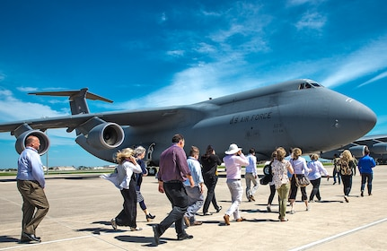 Civic Leaders from the 403rd Wing, Keesler Air Force Base, Mississippi tour a C-5M Super Galaxy aircraft March 23, 2017 at Joint Base San Antonio-Lackland, Texas. The two-day visit included a tour of the C-5M Super Galaxy aircraft; a walk through of the 733rd Training Squadron, reception with the Greater San Antonio Chamber of Commerce, 433rd Maintenance Group engine and structural shop; U.S. Army Medical Department Museum; The Center for the Intrepid; and a tour of the U.S. Army Combat Medic Training. (U.S. Air Force photo by Benjamin Faske)