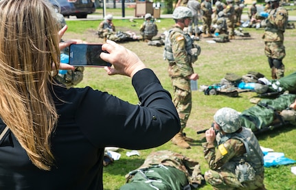 Cindy Lamb, Pickering client relations manager, observes U.S. Army medic training during the 403rd Wing civic leader tour March 24, 2017 at Joint Base San Antonio-Ft. Sam Houston, Texas. (U.S. Air Force photo by Benjamin Faske)