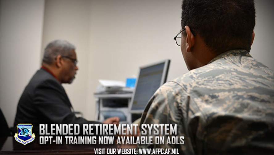 Personal Financial Counselors and Educators are available at Airman and Family Readiness Centers to assist Airmen with making an educated decision on which retirement plan is right for them. Eligible Airmen are required to take the Blended Retirement System Opt-In course, now available on the Advance Distributed Learning System. (U.S. Air Force photo by Airman 1st Class Christopher Maldonado)