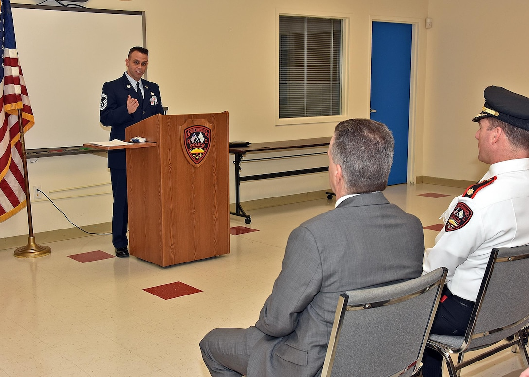 Senior Master Sgt Steven Fratus thanks the award recipients for their support of his service with the Rhode Island National Guard