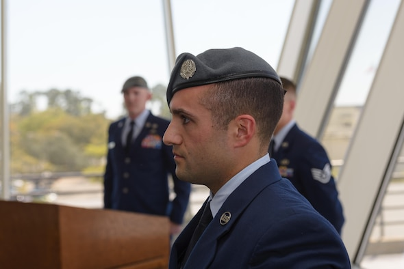 Senior Airman Matthew James, 335th Training Squadron student, receives his Gray Beret during a Special Operations Weather Apprentice Course graduation ceremony at the Weather Training Complex, March 22, 2017, on Keesler Air Force Base, Miss. At his graduation James received his Gray Beret. (U.S. Air Force photo by Andre' Askew)